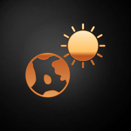 Gold Earth globe and sun icon isolated on black background. World or Earth sign. Global internet symbol. Geometric shapes.  Vector Illustration. 向量圖像