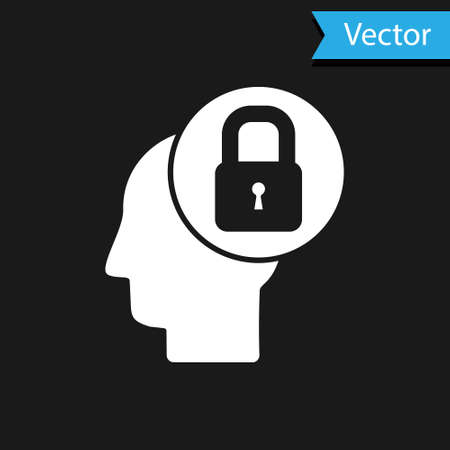 White Human head with lock icon isolated on black background. Vector Illustration.