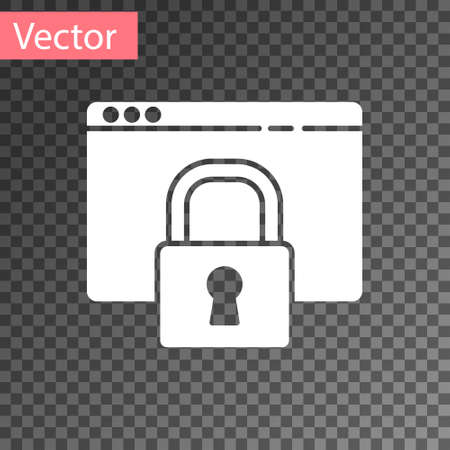 White Secure your site with HTTPS, SSL icon isolated on transparent background. Internet communication protocol. Vector Illustration.
