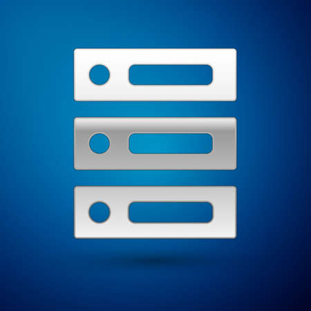 Silver Server, Data, Web Hosting icon isolated on blue background. Vector Illustration.