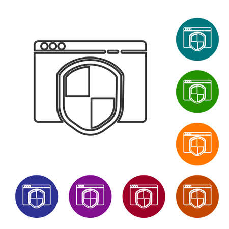 Black line Browser with shield icon isolated on white background. Security, safety, protection, privacy concept. Set icons in color circle buttons. Vector Illustration.
