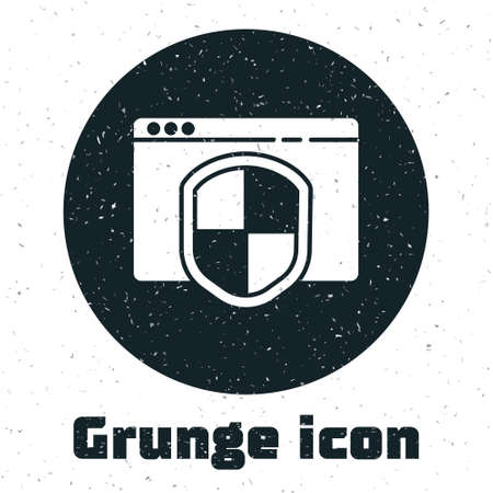 Grunge Browser with shield icon isolated on white background. Security, safety, protection, privacy concept. Monochrome vintage drawing. Vector Illustration.