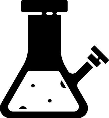 Black Glass bong for smoking marijuana or cannabis icon isolated on white background. Vector Illustration.