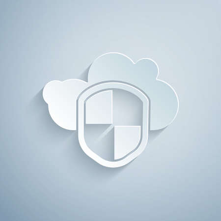Paper cut Cloud and shield icon isolated on grey background. Cloud storage data protection. Security, safety, protection, privacy concept. Paper art style. Vector Illustration. Ilustrace
