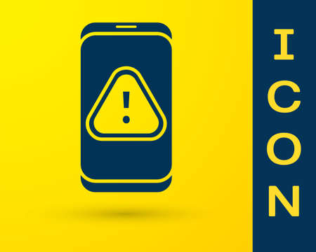 Blue Mobile phone with exclamation mark icon isolated on yellow background. Alert message smartphone notification. Vector Illustration.