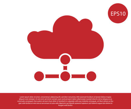 Red Network cloud connection icon isolated on white background. Social technology. Cloud computing concept. Vector Illustration. Ilustracja