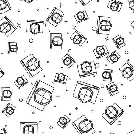 Black line Browser with shield icon isolated seamless pattern on white background. Security, safety, protection, privacy concept. Vector Illustration.