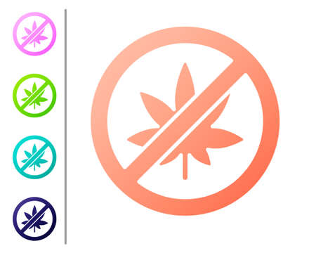 Coral Stop marijuana or cannabis leaf icon isolated on white background. No smoking marijuana. Hemp symbol. Set color icons. Vector Illustration.