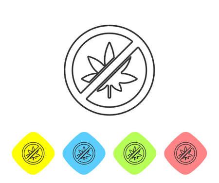 Grey line Stop marijuana or cannabis leaf icon isolated on white background. No smoking marijuana. Hemp symbol. Set icons in color rhombus buttons. Vector Illustration.