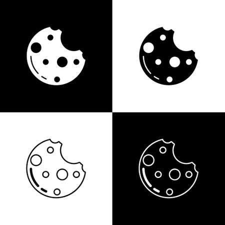 Set Chocolate cookies with marijuana leaf icon isolated on black and white background. Weed, ganja, medical and recreation cannabis. Vector Illustration.