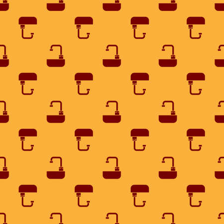 Red Washbasin with water tap icon isolated seamless pattern on brown background. Vector Illustration.