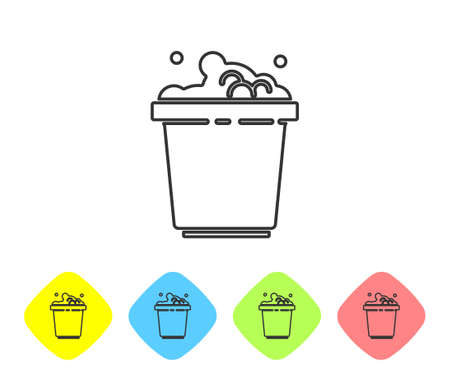 Grey line Bucket with soap suds icon isolated on white background. Bowl with water. Washing clothes, cleaning equipment. Set icons in color rhombus buttons. Vector Illustration.