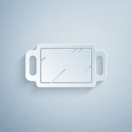 Paper cut Hand mirror icon isolated on grey background. Paper art style. Vector Illustration.