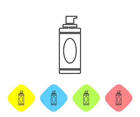 Grey line Shaving gel foam icon isolated on white background. Shaving cream. Set icons in color rhombus buttons. Vector Illustration.