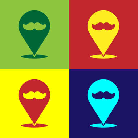 Pop art Barbershop icon isolated on color background. 矢量图像