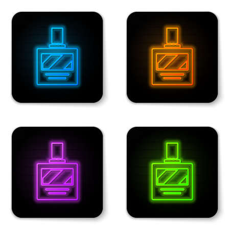 Glowing neon Aftershave icon isolated on white background. Cologne spray icon. Male perfume bottle. Black square button. Vector Illustration.