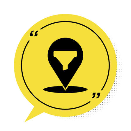 Black Location with sales funnel icon isolated on white background. Infographic template. Yellow speech bubble symbol. Vector Illustration.