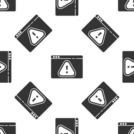 Grey Browser with exclamation mark icon isolated seamless pattern on white background. Alert message smartphone notification. Vector Illustration.