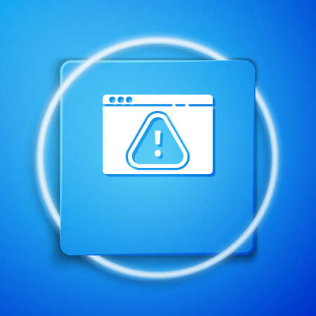 White Browser with exclamation mark icon isolated on blue background. Alert message smartphone notification. Blue square button. Vector Illustration. Vectores