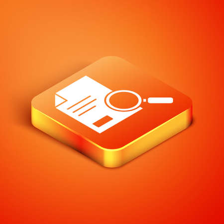 Isometric Document with search icon isolated on orange background. File and magnifying glass icon. Analytics research sign. Vector Illustration.
