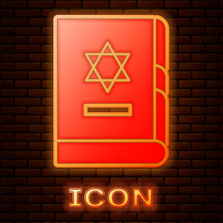 Glowing neon Jewish torah book icon isolated on brick wall background. On the cover of the Bible is the image of the Star of David. Vector Illustration.