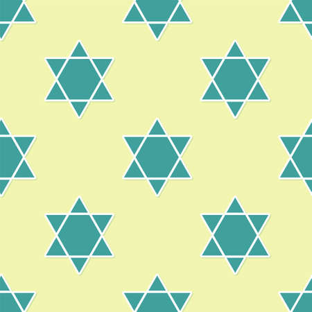 Green Star of David icon isolated seamless pattern on yellow background. Jewish religion symbol. Symbol of Israel. Vector Illustration.