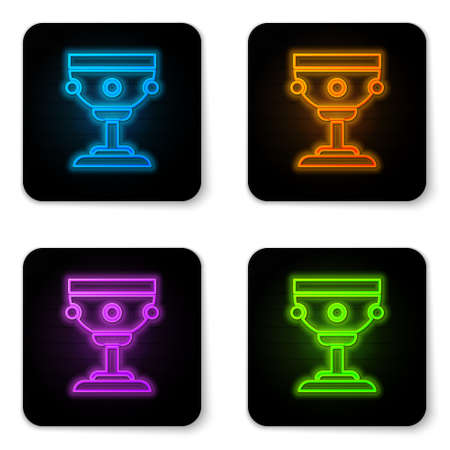 Glowing neon Christian chalice icon isolated on white background. Christianity icon. Happy Easter. Black square button. Vector Illustration.