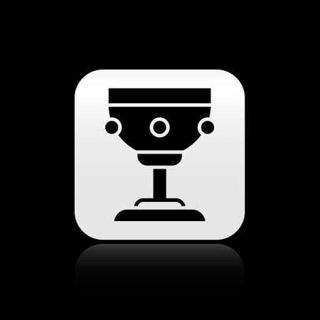 Black Christian chalice icon isolated on black background. Christianity icon. Happy Easter. Silver square button. Vector Illustration.
