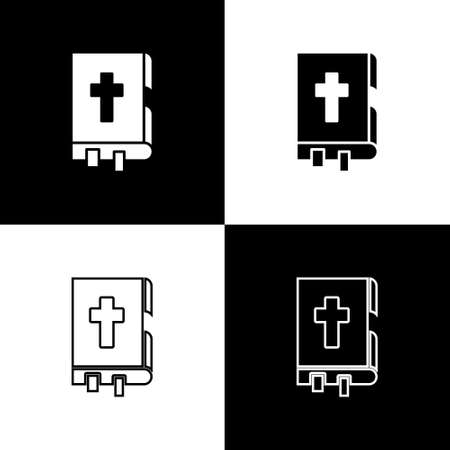 Set Holy bible book icon isolated on black and white background. Vector Illustration. Ilustração