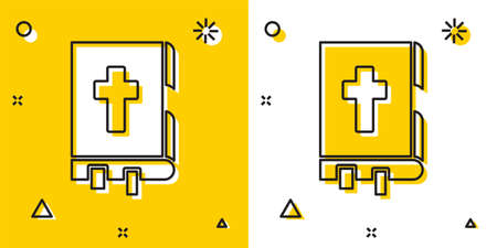 Black Holy bible book icon isolated on yellow and white background. Random dynamic shapes. Vector Illustration. Ilustração