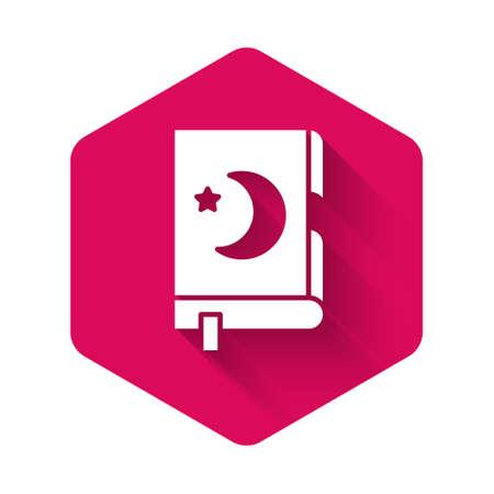 White Holy book of Koran icon isolated with long shadow. Muslim holiday, Eid Mubarak, Eid al-fitr, Ramadan Kareem. Pink hexagon button. Vector Illustration. Ilustracja