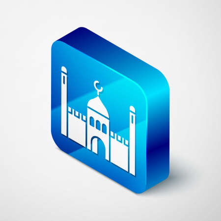 Isometric Muslim Mosque icon isolated on grey background. Blue square button. Vector Illustration.