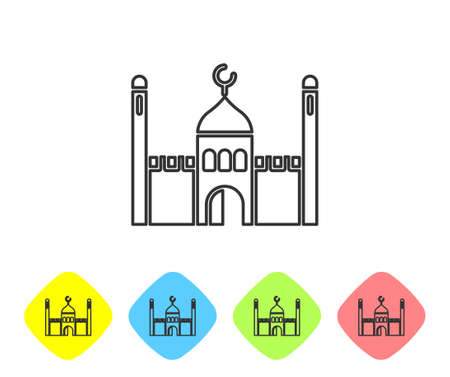 Grey line Muslim Mosque icon isolated on white background. Set icons in color rhombus buttons. Vector Illustration.