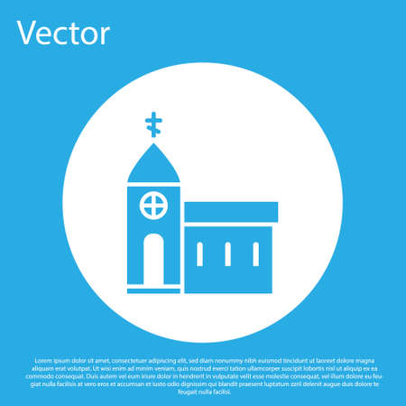 Blue Church building icon isolated on blue background. Christian Church. Religion of church. White circle button. Vector Illustration.