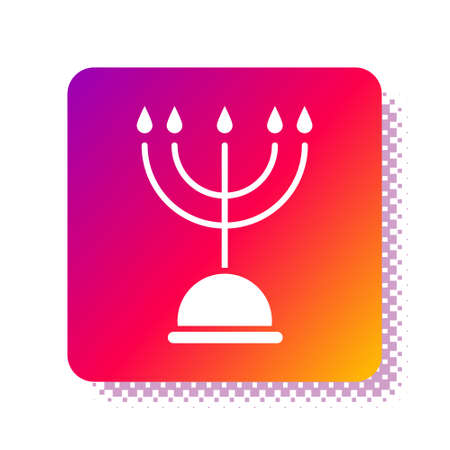 White Hanukkah menorah icon isolated on white background. Hanukkah traditional symbol. Holiday religion, jewish festival of Lights. Square color button. Vector Illustration.