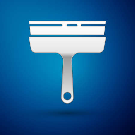 Silver Cleaning service with of rubber cleaner for windows icon isolated on blue background. Squeegee, scraper, wiper. Vector Illustration. Vectores