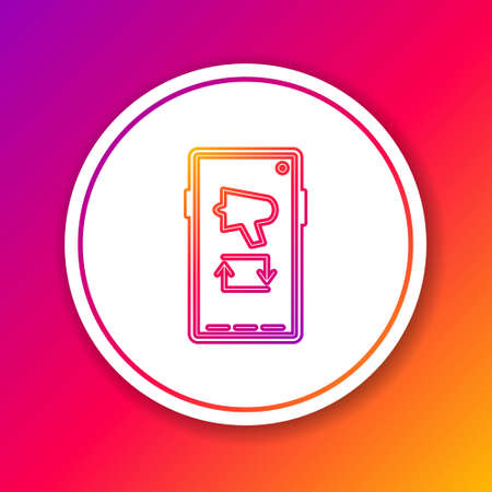 Color line Spread the word, megaphone on mobile phone icon isolated on color background. Circle white button. Vector Illustration.