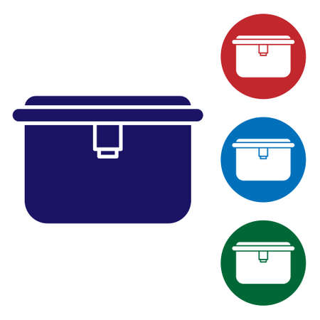 Blue Lunch box icon isolated on white background. Set icons in color square buttons. Vector Illustration.