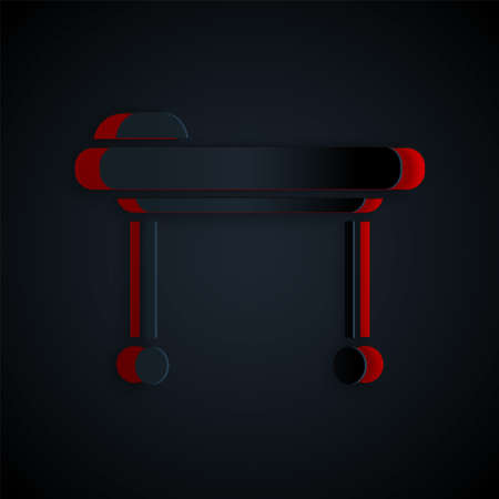 Paper cut Stretcher icon isolated on black background. Patient hospital medical stretcher. Paper art style. Vector Illustration.