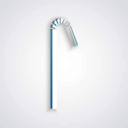 Paper cut Drinking plastic straw icon isolated on grey background. Paper art style. Vector Illustration.