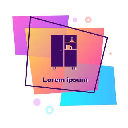 Purple Medicine cabinet icon isolated on white background. Color rectangle button. Vector Illustration. Ilustração