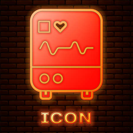 Glowing neon Computer monitor with cardiogram icon isolated on brick wall background. Monitoring icon. ECG monitor with heart beat hand drawn. Vector Illustration.