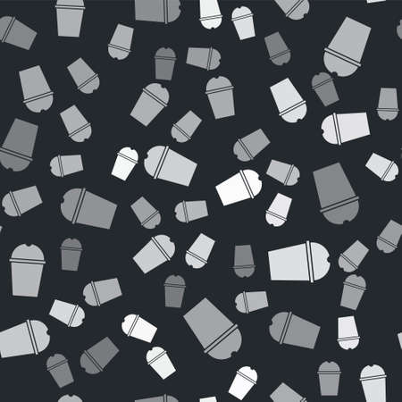 Grey Paper glass and water icon isolated seamless pattern on black background. Soda drink glass. Fresh cold beverage symbol. Vector Illustration. Stock fotó - 151137240