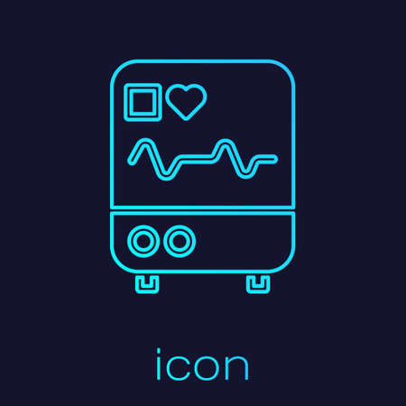 Turquoise line Computer monitor with cardiogram icon isolated on blue background. Monitoring icon. ECG monitor with heart beat hand drawn. Vector Illustration.