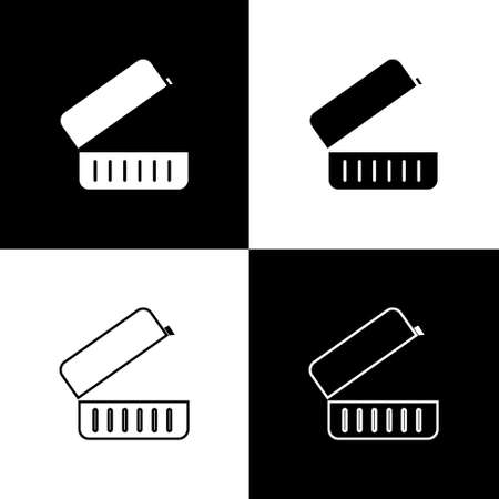 Set Lunch box icon isolated on black and white background. Vector Illustration.