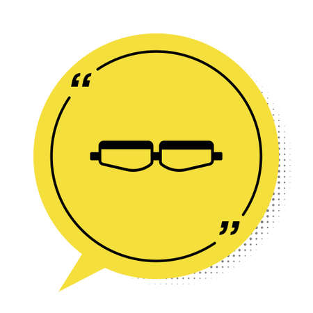 Black Safety goggle glasses icon isolated on white background. Yellow speech bubble symbol. Vector Illustration.