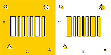 Black Barcode icon isolated on yellow and white background. Random dynamic shapes. Vector Illustration.