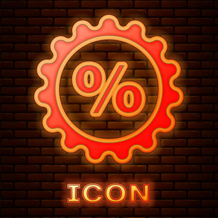 Glowing neon Discount percent tag icon isolated on brick wall background. Shopping tag sign. Special offer sign. Discount coupons symbol. Vector Illustration. Ilustracja