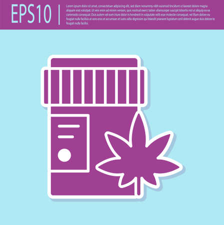 Retro purple Medical bottle with marijuana or cannabis leaf icon isolated on turquoise background. Mock up of cannabis oil extracts in jars. Vector Illustration.