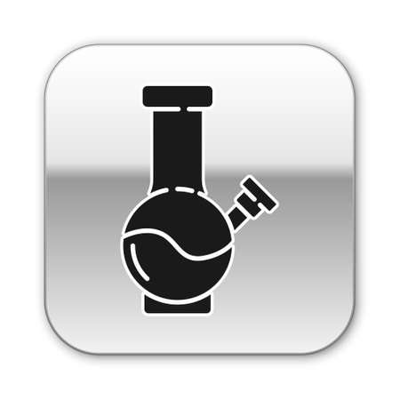 Black Glass bong for smoking marijuana or cannabis icon isolated on white background. Silver square button. Vector Illustration.